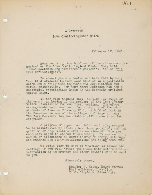 Image of the letter proposing the formation of the Iowa Ornithologists' Union