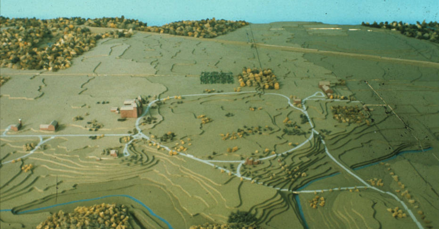 Colored image of a model of the campus as it appeared in 1875