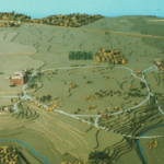 Colored image of a model of the campus as appeared in 1875