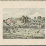 Colored image depicting the residence of T.H. Dunkin, Union Township in Monroe, Iowa