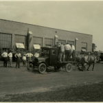 Black and white image of the horse dynamometer trial run