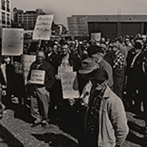 Black and white photo of a group of farmers protesting