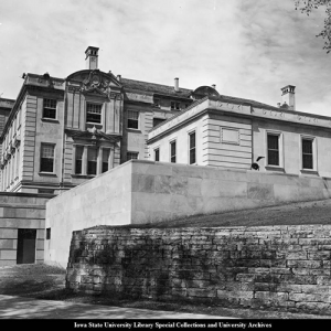 Early black and white Image of Iowa State University Memorial Union from north side.