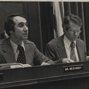 Black and white image of Edward Mezvinsky during  the Watergate hearing