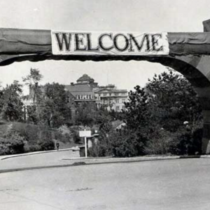 Black and white photo of welcome gate