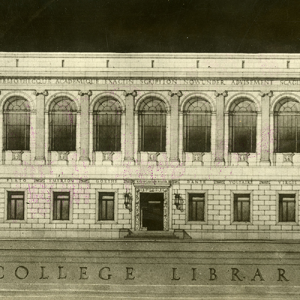 image of front of original university library on the Iowa State University campus.
